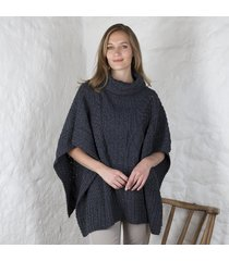 merino wool ladies cowl cape navy