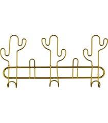 cabideiro kasa ideia de metal dourado cacto - dourado - dafiti