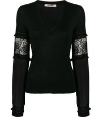 roberto cavalli sheer sleeves pullover - black