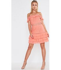 premium dobby mesh off the shoulder frill mini dress, coral