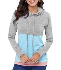 color block drawstring cowl neck sweatshirt