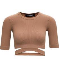 andrea adamo beige ribbed knit sweater