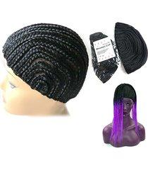 cappello da parrucca cornrow adesivo regolabile in tessuto intrecciato tastiera in pizzo elasti hairnet styling tool