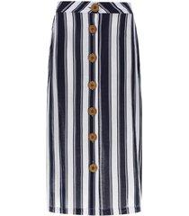 falda larga lineas verticales color blanco, talla 6