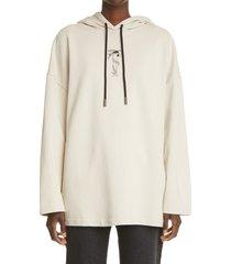 women's off-white adam is eve logo hoodie, size large - beige