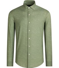men's bugatchi ooohcotton tech chambray knit button-up shirt, size xxx-large - green