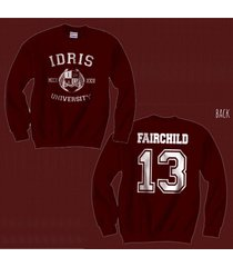 fairchild 13 idris university mortal instrumen unisex crewneck sweatshirt maroon