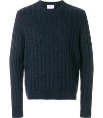 ami flat ribbed crew neck sweater - blue