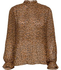 hitta print top blouse lange mouwen bruin modström