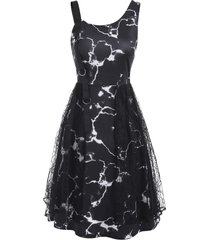 marble print d-ring lace panel asymmetric neck dress