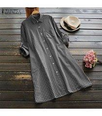 zanzea mujeres plus tamaño de los botones de la túnica de arriba hacia abajo de la blusa a cuadros compruebe camisa de vestir -negro
