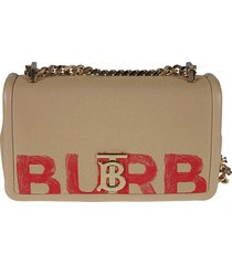 burberry logo print chain strap shoulder bag