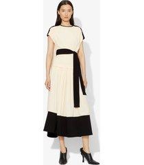 proenza schouler short sleeve combo cape dress ecru/white 8