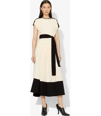 proenza schouler short sleeve combo cape dress ecru/white 8