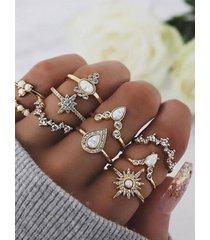 anillos de unión combinados de corona de oro