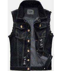 gilet di jeans per uomo con foro nero strappato