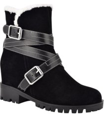 nine west women's davyd demi wedge buckle detailing faux fur booties women's shoes
