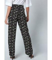 ganni women's printed crepe trousers - phantom - eu40/uk12
