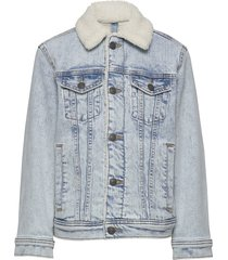 sherpa denim trucker outerwear jackets & coats denim & corduroy blauw abercrombie & fitch