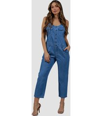 macacão jeans zayon delavê azul