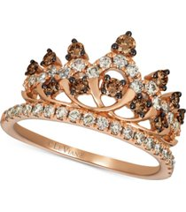 le vian chocolate & nude diamond tiara ring (7/8 ct. t.w.) in 14k rose gold
