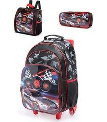 mochila de rodinha e lancheira e estojo spector infantil de carro preto/branco