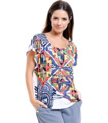 blusa 101 resort wear tunica careca estampada multicolorida
