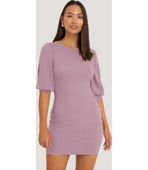 na-kd puff half sleeve ribbed mini dress - purple