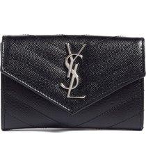 women's saint laurent small monogram leather french wallet - black
