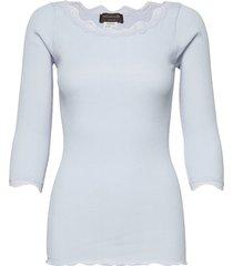 organic t-shirt boat neck w/lace t-shirts & tops long-sleeved blauw rosemunde