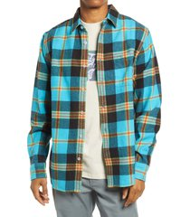 obey plaid flannel organic cotton button-up shirt, size large in aqua multi at nordstrom