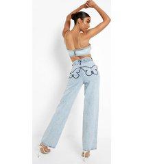 boyfriend jeans met vlinder borduursel, ice blue