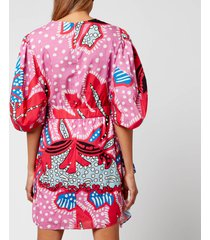 rhode women's pia dress - red psychedelic flower - m