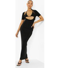 strakke maxi jurk met bralette uitsnijding detail, black