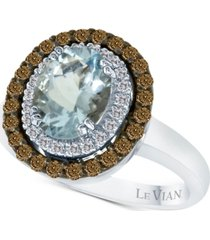 le vian chocolatier aquamarine (1-3/8 ct. t.w.) and diamond (1/2 ct. t.w.) ring in 14k white gold