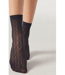 calzedonia sheer fashion socks woman black size tu