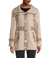 mackage women's houndstooth-trim belted coat - sand - size xl