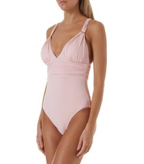 women's melissa odabash panarea one-piece swimsuit, size 6 - pink