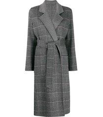liska plaid belted coat - grey