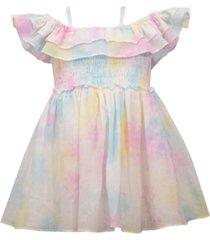 bonnie baby baby girls off-the-shoulder pastel tie-dye dress
