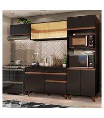 cozinha completa madesa reims xa260001 com armário e balcão preto preto