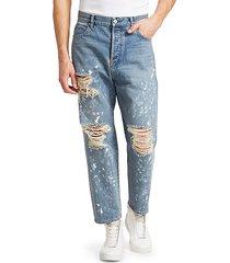 straight-leg distressed graffiti jeans