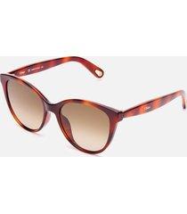 chloé women's cat eye acetate sunglasses - havana