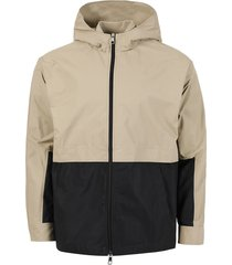 bi-color boxy jacket, safari and black