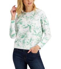 lucky brand botanical print pullover sweatshirt