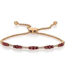 14k strawberry gold®, raspberry rhodolite® & vanilla diamond® bolo bracelet