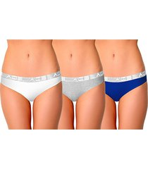 aqs women's 3-pack stretch-cotton bikini panties - white grey blue - size l