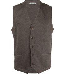 fileria sleeveless wool-knit cardigan - brown