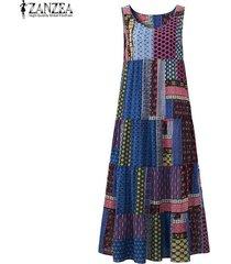 zanzea moda una línea de vestidos del tanque de playa del verano del partido de midi-becerro camisa de vestir de algodón de las mujeres de lino floral retro imprimir vestido de tirantes azul -azul