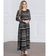 abiti lunghi da donna vintage con stampa musulmana patchwork